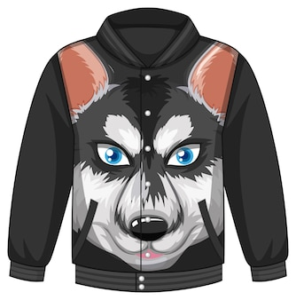 Front of bomber jacket with siberian husky dog pattern