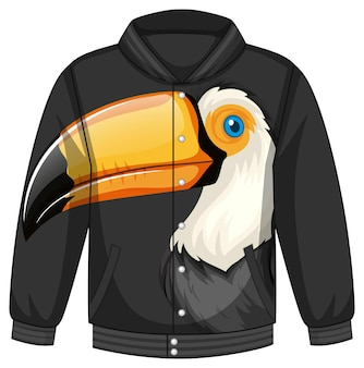 Front of bomber jacket with toucan pattern