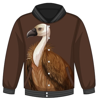 Front of bomber jacket with vulture pattern