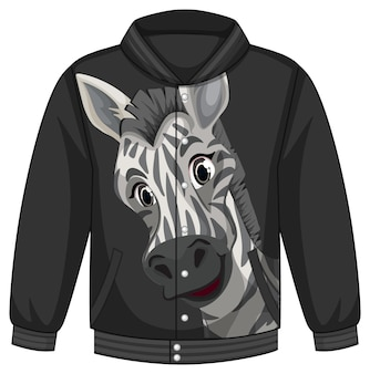 Front of bomber jacket with zebra pattern