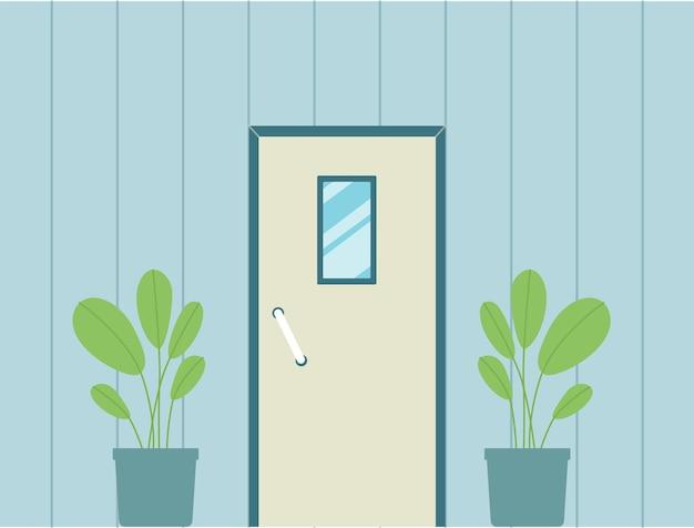 Входная дверь дома с маленьким прямоугольным окном на синей стене
