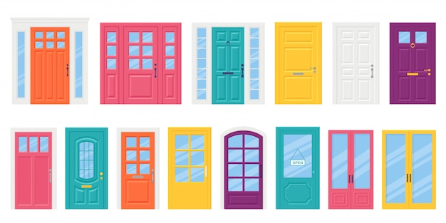 Front door set, doorway in flat style. vector illustration.