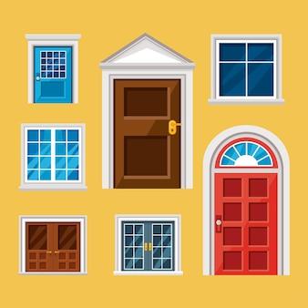 黄色の背景に設定された正面玄関と窓のアイコン