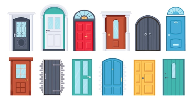 Входные двери. мультяшный старинный дом деревянный дверной проем. дверь со стеклянным окном. входы в дом с рамой и дверной ручкой. набор векторных дизайна дверей. иллюстрация дверь входная и дверной проем дома