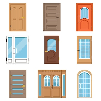 Front doors, collection of vintage and modern doors to houses and buildings vector illustrations