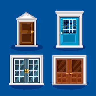 青い背景に設定された正面玄関のアイコン