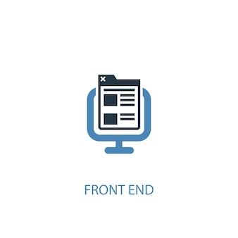 프런트 엔드 개념 2 컬러 아이콘입니다. 간단한 파란색 요소 그림입니다. 프런트 엔드 개념 기호 디자인입니다. 웹 및 모바일 ui/ux에 사용 가능