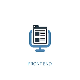 Front end concept 2 colored icon. simple blue element illustration. front end concept symbol design. can be used for web and mobile ui/ux