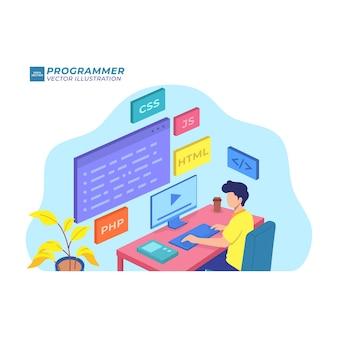 フロントエンド開発者フラットイラストレーションプログラマソフトウェアデータベース