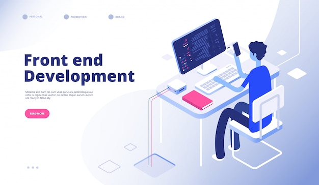 Front end development. developer programmer person develop computer phone website interface dashboard futuristic landing  page