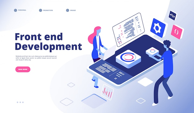Front end development. programmer develop computer website interface front-end graphics engineering programming landing  page