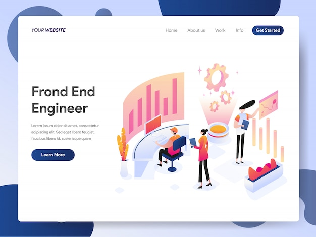 Front end engineer banner of landing page