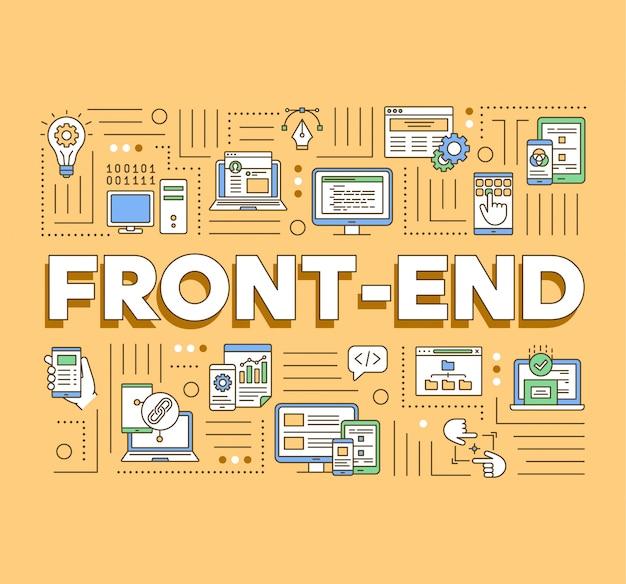 フロントエンドの単語概念のバナー。 webアプリケーションプログラミング