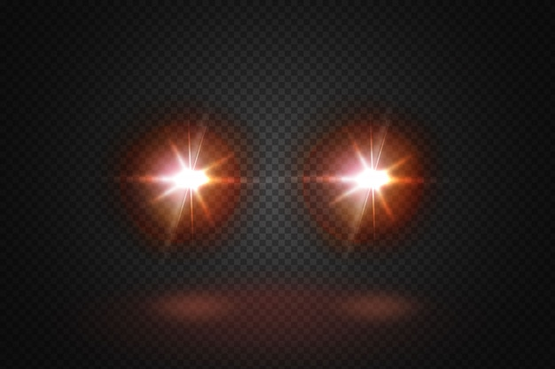 Front glowing beams of the car.realistic red rays round transport headlights in smoke,  fog or dust.i.isolated on black background.