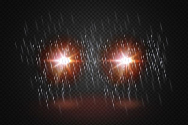 Передние светящиеся лучи автомобиля. реалистичные синие лучи вокруг транспортных фар в дыму, тумане или пыли. i. изолированные на черном фоне.