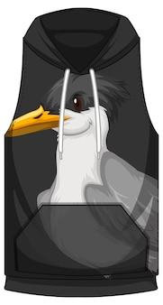 Parte anteriore della felpa senza maniche con motivo a uccelli