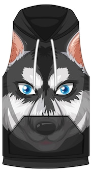Front of hoodie sleeveless with siberian husky pattern