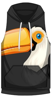 Front of hoodie sleeveless with toucan pattern