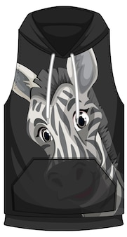 Front of hoodie sleeveless with zebra pattern