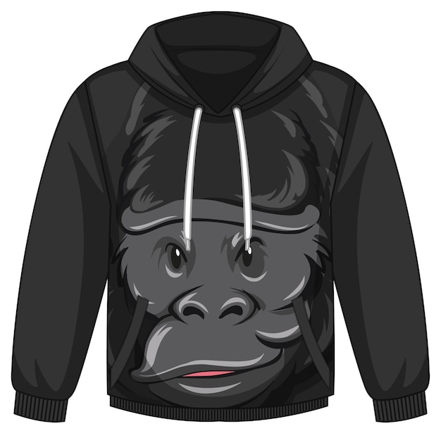 Front of hoodie sweater with gorilla pattern