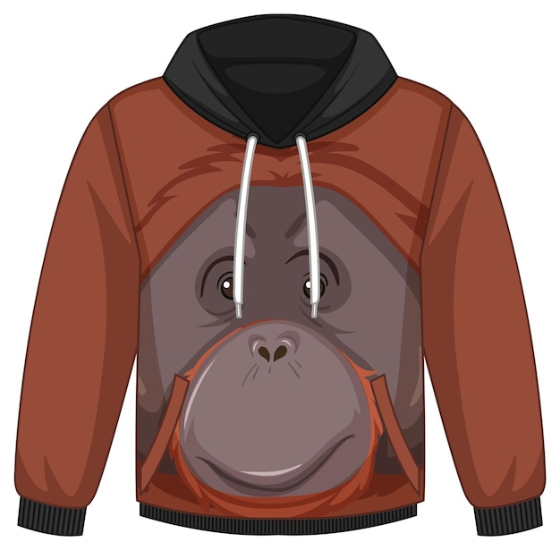 Front of hoodie sweater with orangutan pattern
