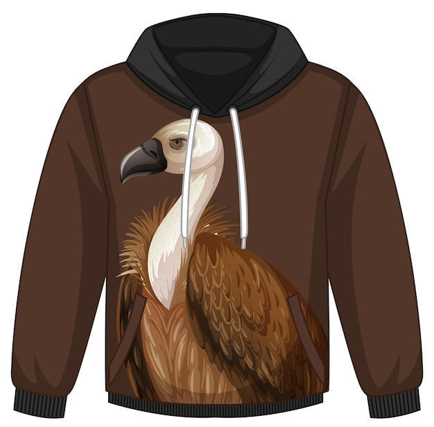 Front of hoodie sweater with vulture pattern