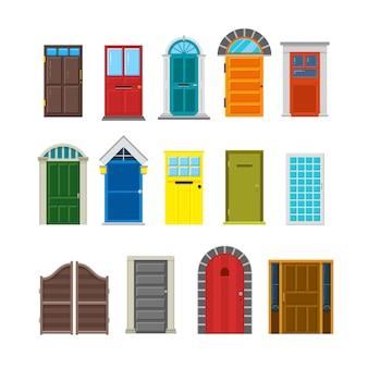 Front house doors flat vector set