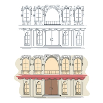 Davanti alla casa in stile retrò francese. facciata della facciata della costruzione della facciata della casa di architettura, facciata francese della casa, facciata della casa della via.
