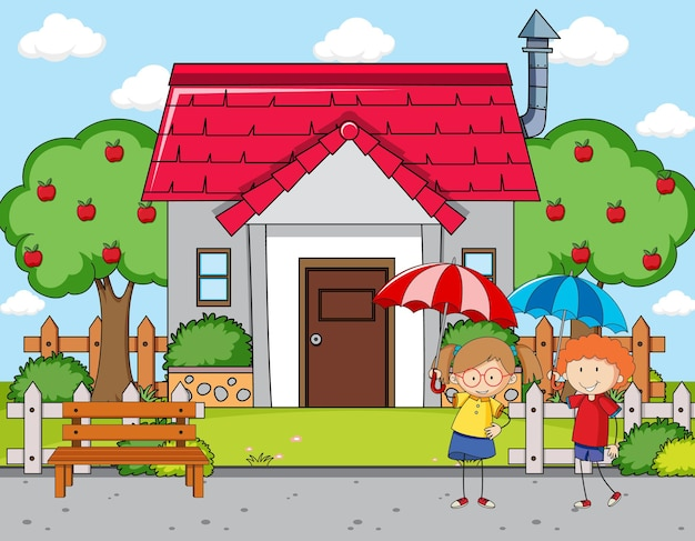 Scena della parte anteriore della casa con una ragazza che tiene l'ombrello