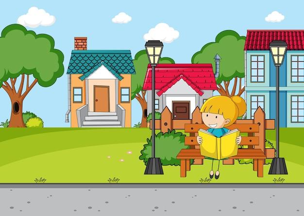 Scena davanti alla casa con una ragazza che legge un libro seduta su una panchina