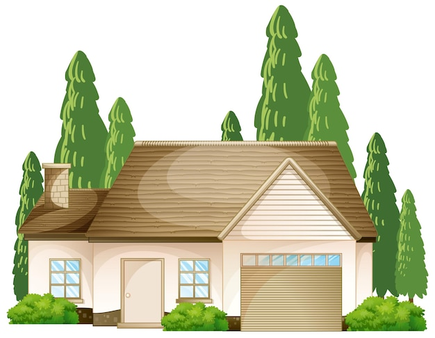 Front of a house with many tree isolated on white background