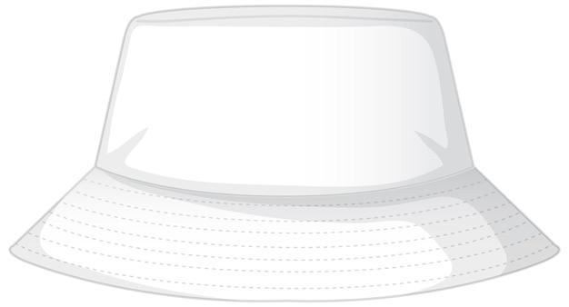 分離された基本的な白いバケツ帽子の前面