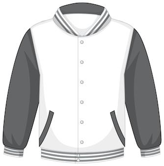 Фронтальная белая серая куртка-бомбер изолирована