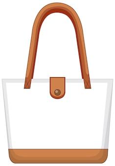 分離された基本的な白いハンドバッグの前面
