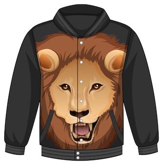 ライオン柄のボンバージャケットのフロント