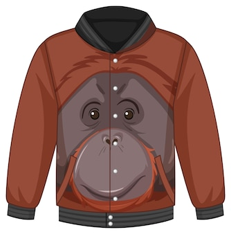 オランウータン柄のボンバージャケットのフロント