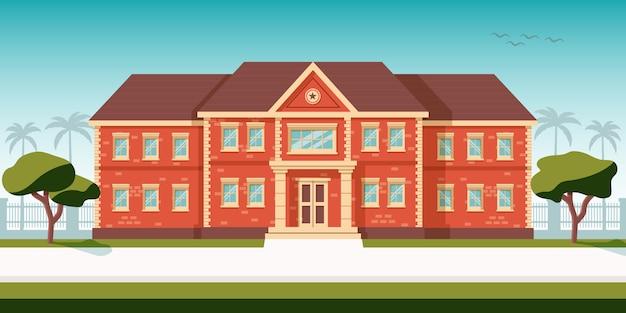 建物のキャンパスの青い空の図の前