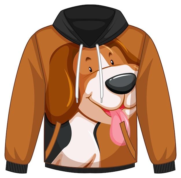 犬のパターンのパーカーセーターの前面