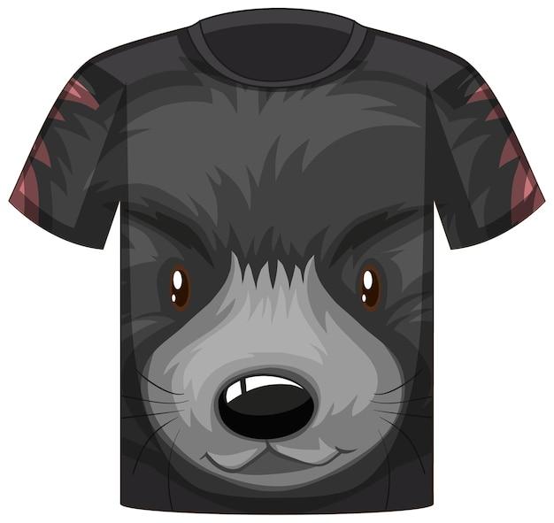 검은 곰 패턴의 얼굴이 있는 티셔츠 앞