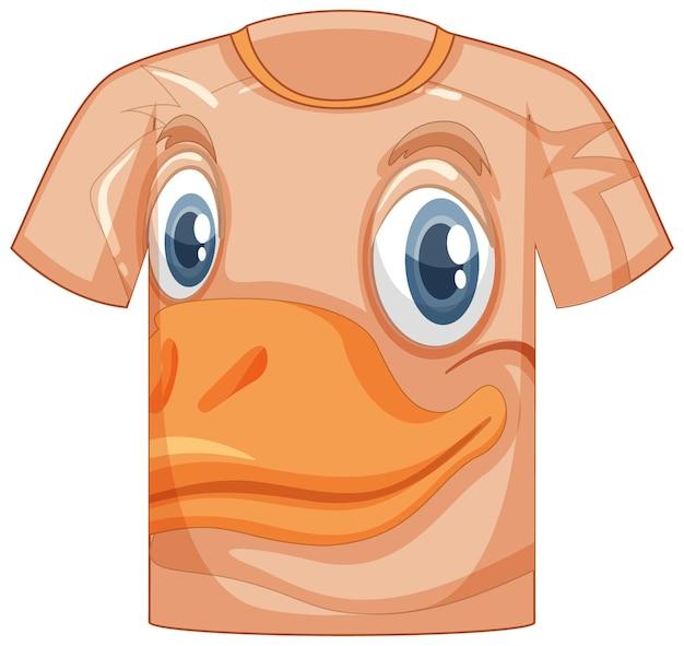 アヒルのパターンの顔とtシャツの前面