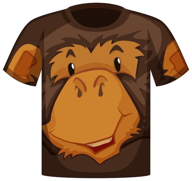 Передняя часть футболки с рисунком морды обезьяны