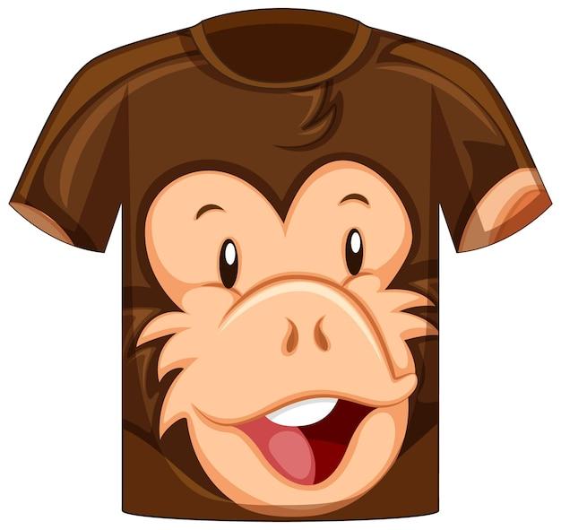 원숭이 패턴의 얼굴이 있는 티셔츠 앞