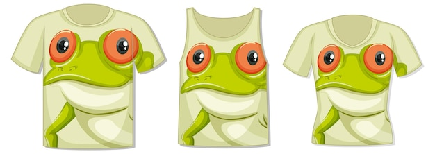 Передняя часть футболки с шаблоном лица лягушки