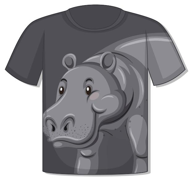 カバのテンプレートとtシャツの前面