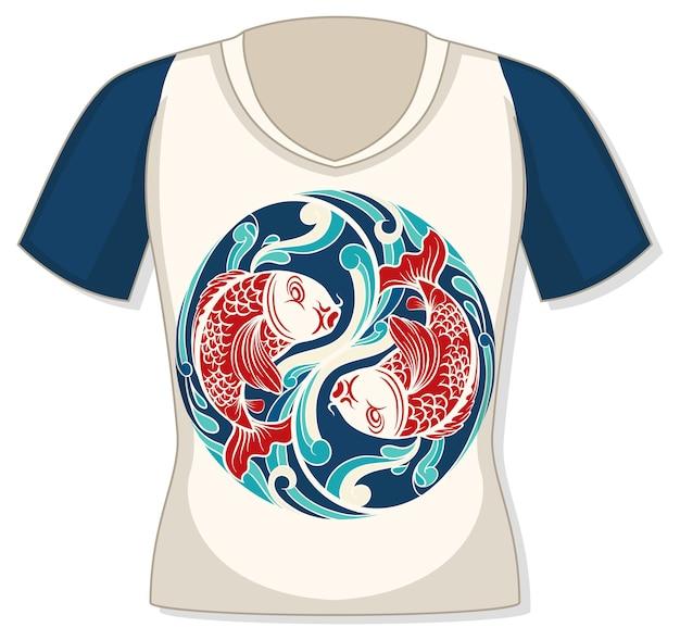 鯉の柄が入ったtシャツの前面