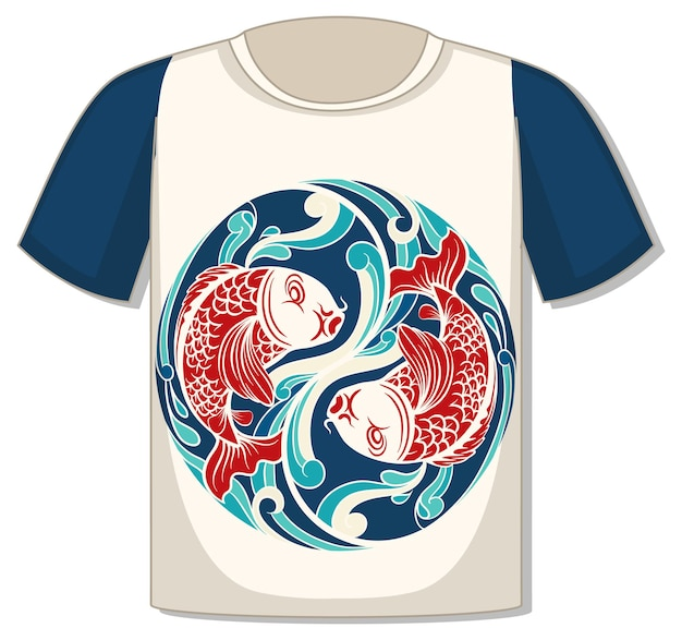 鯉のテンプレートが付いたtシャツの前面