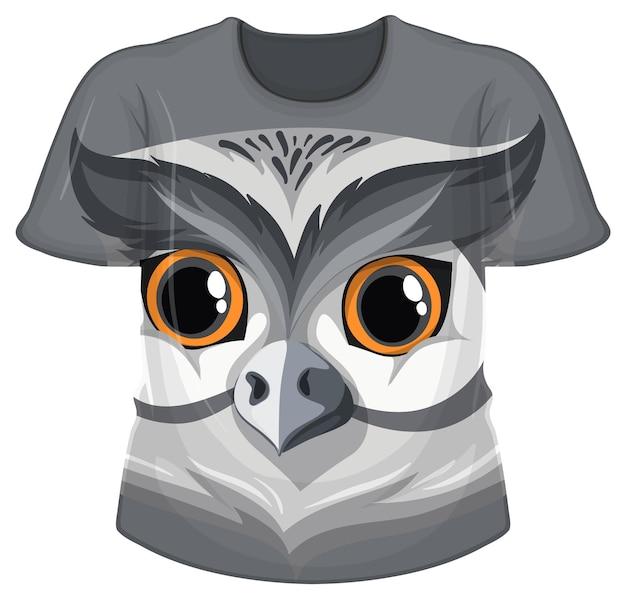 올빼미 얼굴 패턴의 티셔츠 앞면