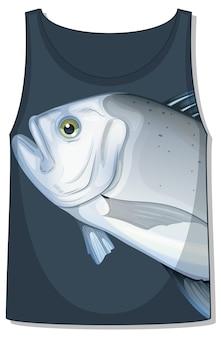 魚柄のノースリーブタンクトップフロント