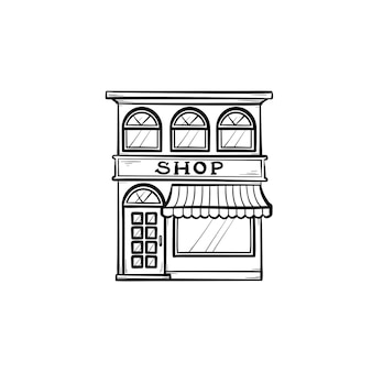 Front of shopping store hand drawn outline doodle icon. local shop, retail, store front, market concept