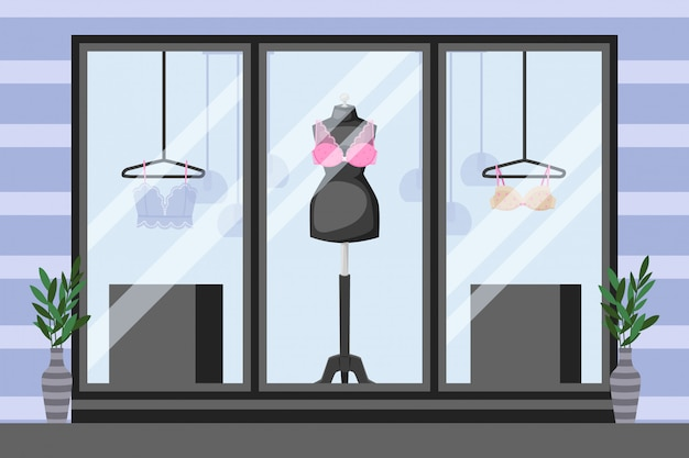 Front showcase underwear storefront,  illustration. mannequin with lace bra, thin clothes on hanger. vases near windows